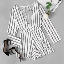 Plunging Tie Back Striped Romper