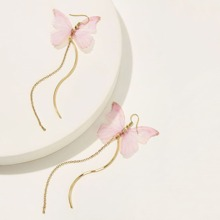 Schmetterling formige Tropfenohrringe mit Kette 1 Paar