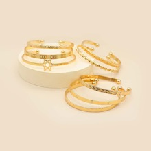 8pcs Textured Metal Bracelet