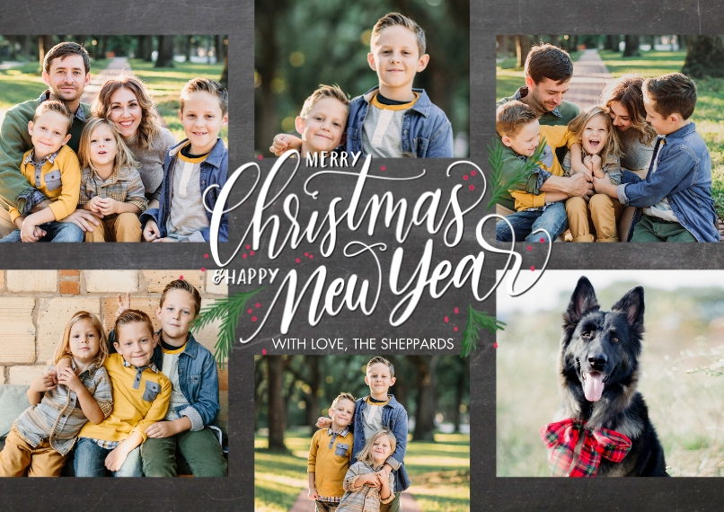 Christmas Photo Cards 5x7 Cards, Premium Cardstock 120lb with Scalloped Corners, Card & Stationery -Christmas New Year Woodgrain by Tumbalina