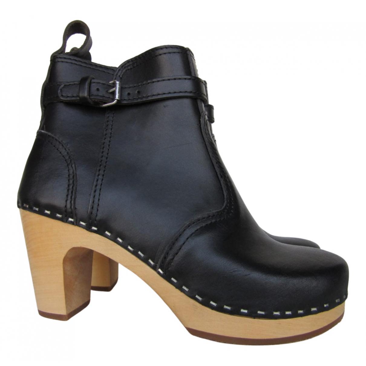 Swedish Hasbeens - Bottes   pour femme en cuir - noir