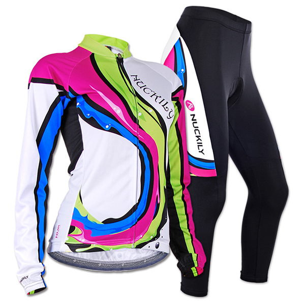 Female Colorful Wave Breathable Long Sleeve Bike Jersey with Full Zipper cycling Suit