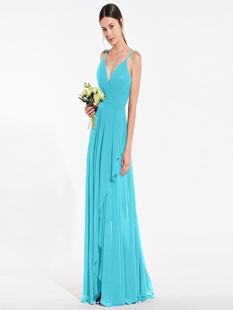 Ericdress A Line Spaghetti Straps Long Bridesmaid Dress