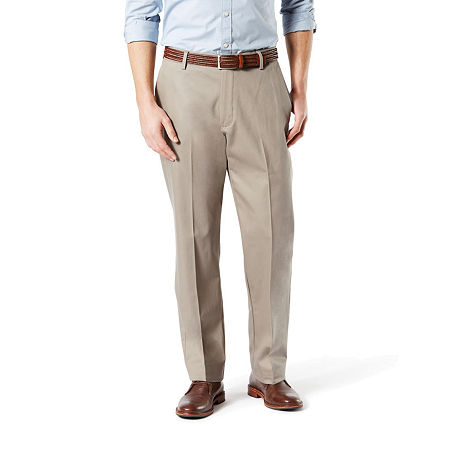 Dockers Men's Classic Fit Signature Khaki Lux Cotton Stretch Pants D3, 33 29, Beige