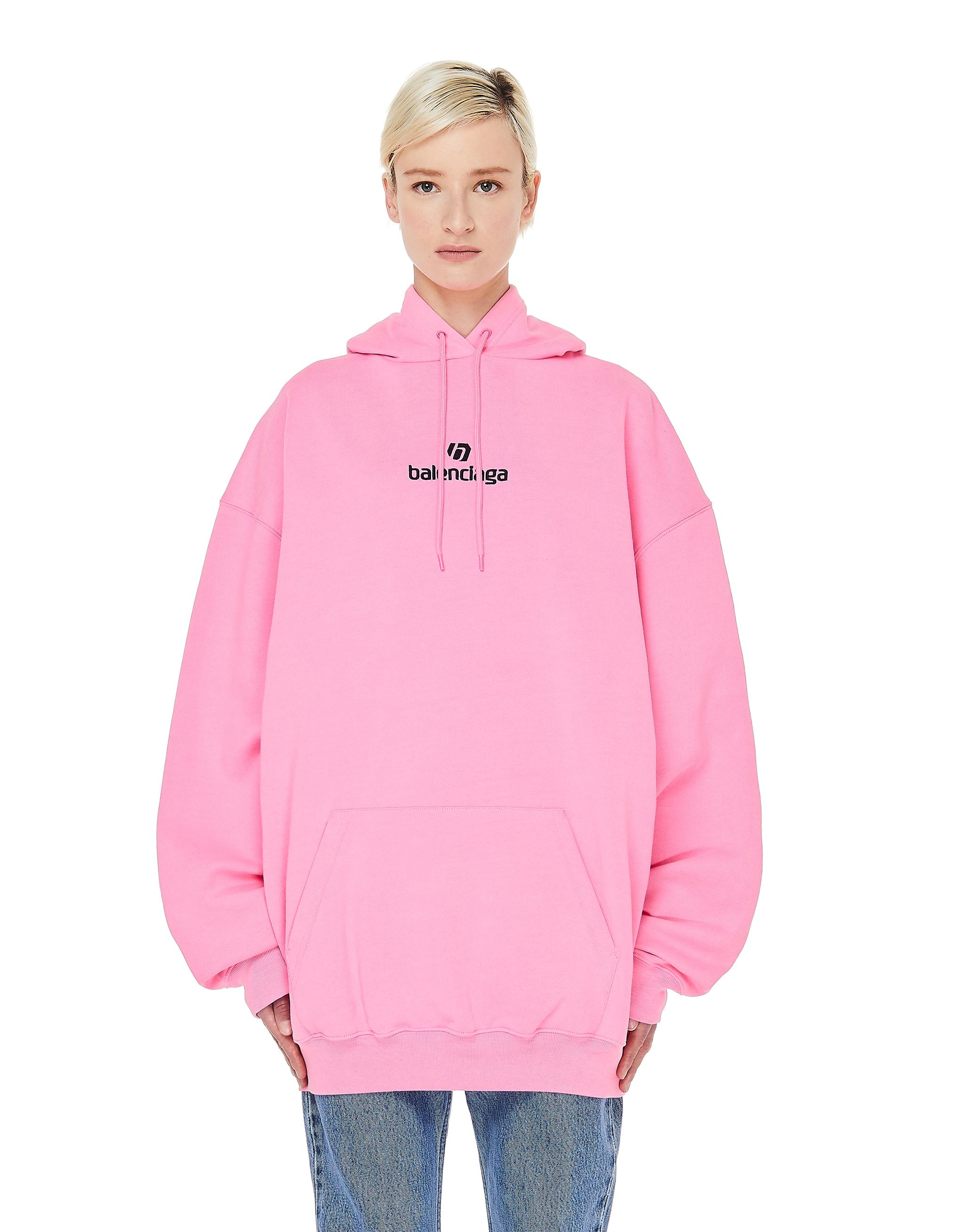 Balenciaga Pink Logo Printed Hoodie