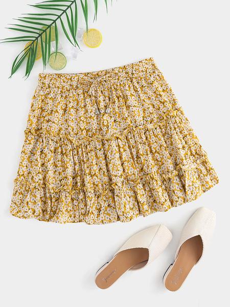 Yoins Yellow Ruffle Trim Self-Tie Design Skirt