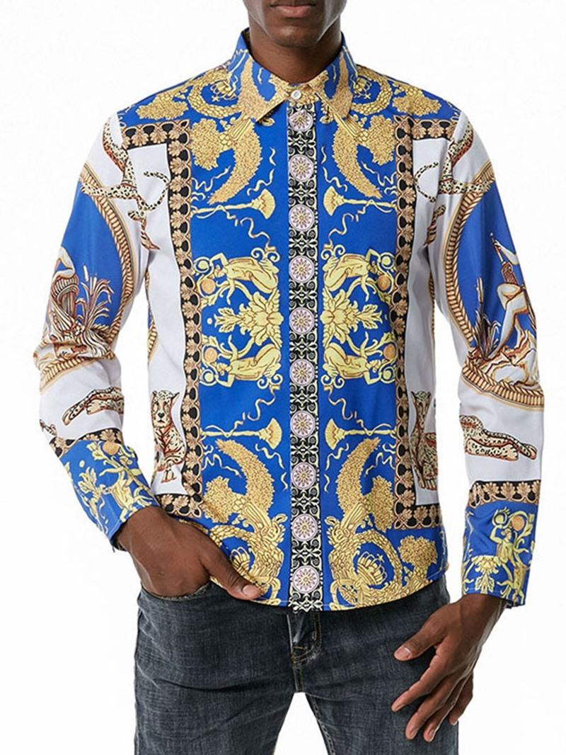 Ericdress Lapel Floral Print Men's Slim Fall Shirt