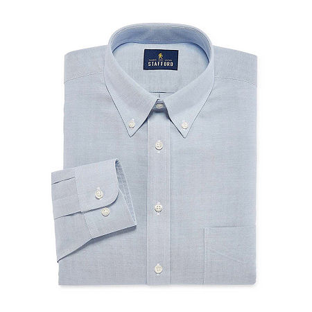 Stafford Mens Wrinkle Free Oxford Button Down Collar Fitted Dress Shirt, 15.5 32-33, Blue