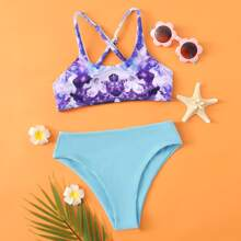 Bikini Badeanzug mit Grafik und Kreuzgurt