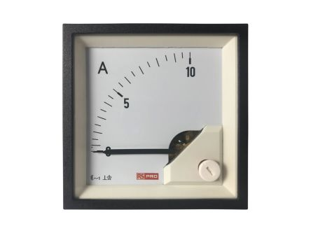 RS PRO Analogue Panel Ammeter 10 (Input)A AC, 72mm x 72mm, 1 % Moving Iron