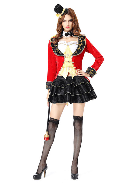 Milanoo Women Magician Costume Halloween Red Outfit