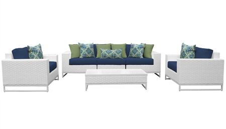 Miami MIAMI-06e-NAVY 6-Piece Wicker Patio Furniture Set 06e with 1 Armless Chair  1 Coffee Table  2 Club Chairs  1 Left Arm Chair and 1 Right Arm