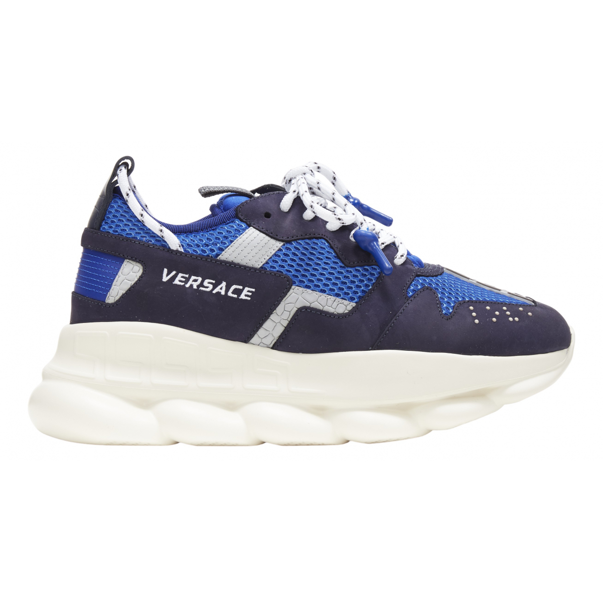 Versace Chain Reaction Blue Leather Trainers for Men 44 EU