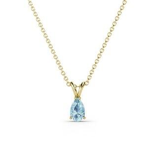 TriJewels Pear Cut Gemstone Womens Solitaire Pendant Necklace 14K Gold (Aquamarine - Yellow)