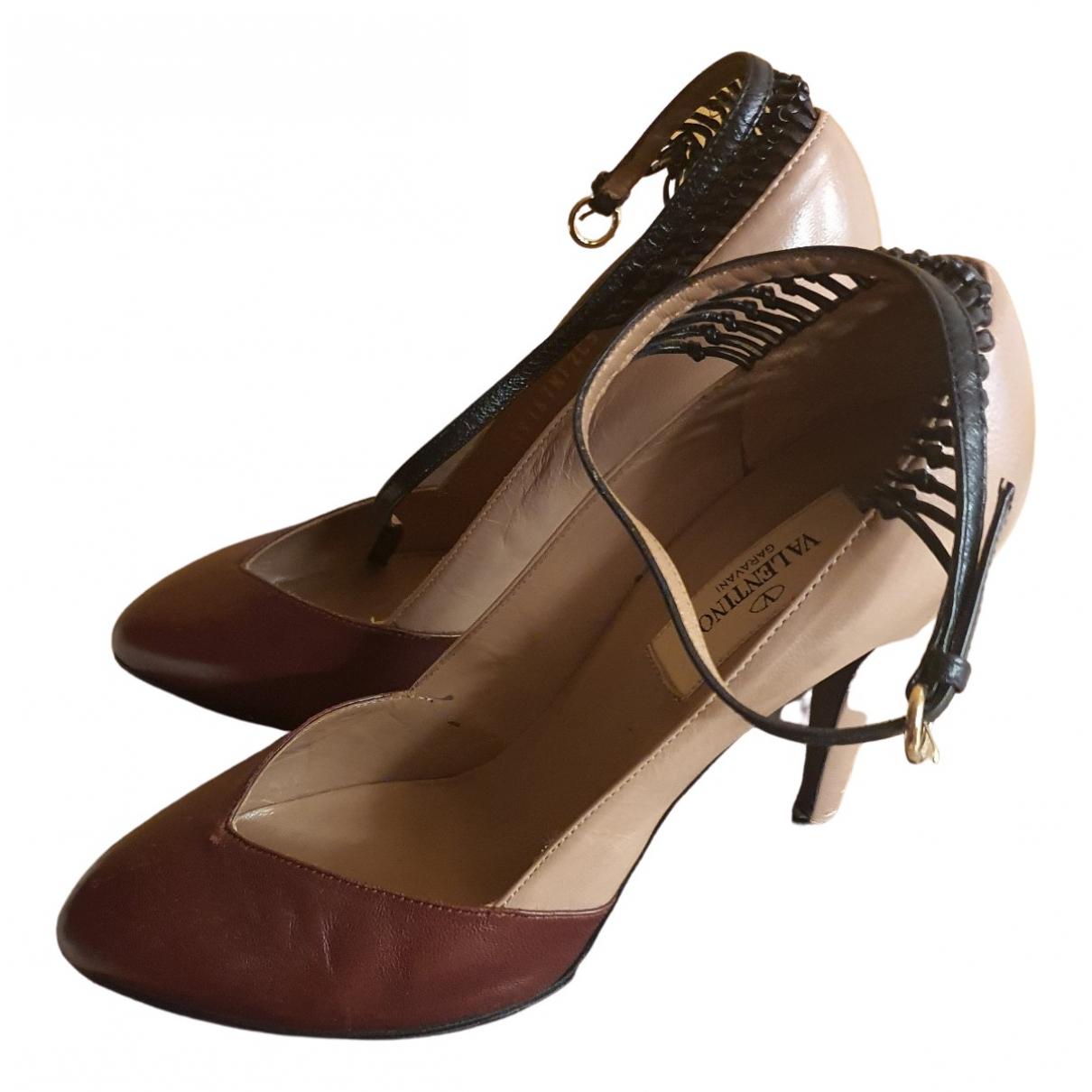 Valentino Garavani \N Burgundy Leather Heels for Women 7.5 US