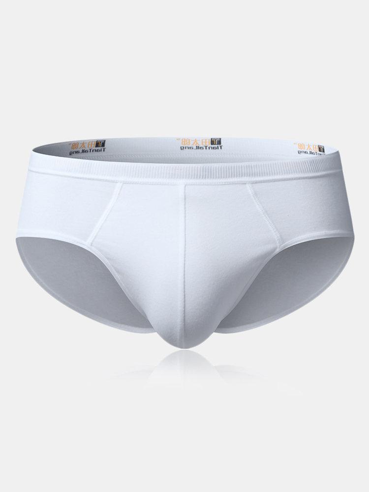 Mens 100%Cotton Well-absorbent Breathable Mid Waist U Convex Pouch Brief Underwear