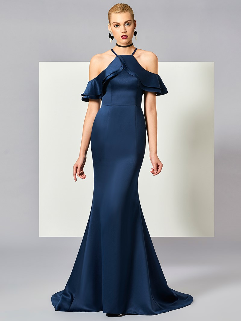 Ericdress Fancy Halter Off The Shoulder Mermaid Long Evening Dress With Court Train