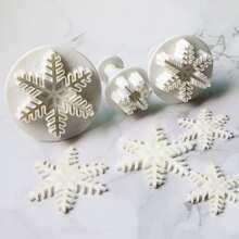 3 Stuecke Keksform mit Schneeflocke Design