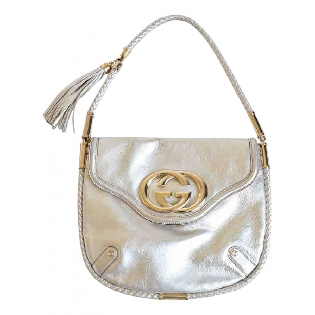 Gucci Interlocking Handtasche in  Silber Leder