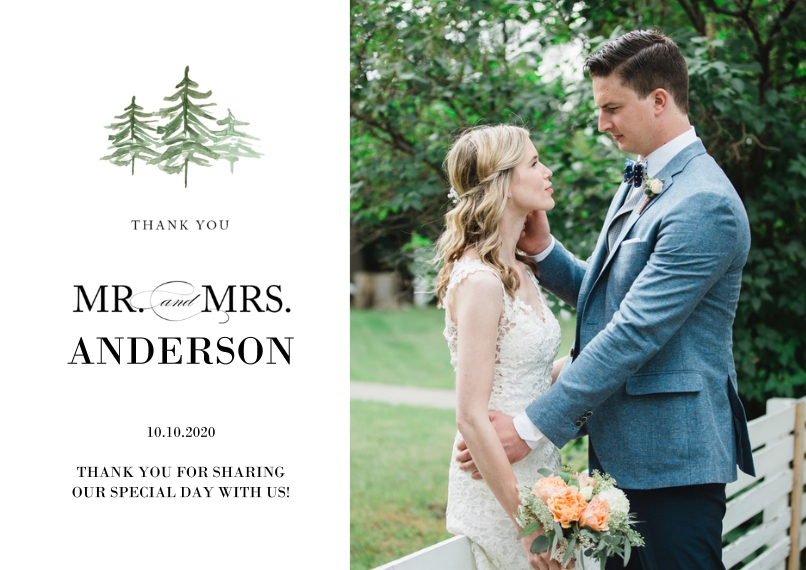Wedding Thank You 5x7 Cards, Standard Cardstock 85lb, Card & Stationery -Wedding Thank You Watercolor Pines by Tumbalina