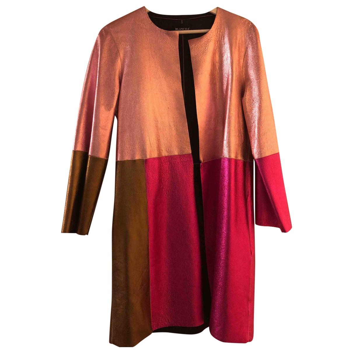 Blancha - Blouson   pour femme en cuir - rose