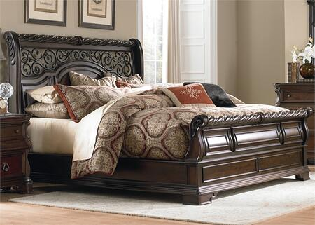 Arbor Place Collection 575-BR-KSL King Sleigh Bed with Rope Twist Mouldings  Scrolled Bracket Feet and Center Supported Slat System in Brownstone