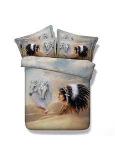 Mysterious American Indian Chief and Horse Print 5-Piece Comforter Sets