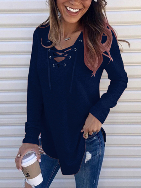 Yoins Navy Lace-up Design V-neck Long Sleeves Tee