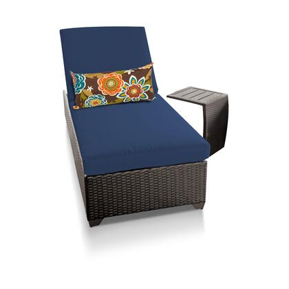 CLASSIC-1x-ST-NAVY Classic Chaise Outdoor Wicker Patio Furniture With Side Table with 2 Covers: Wheat and