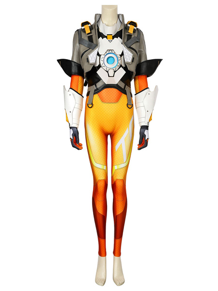 Milanoo Overwatch 2 Tracer Lena Oxton Cosplay Costume Carnival Deluxe Edition