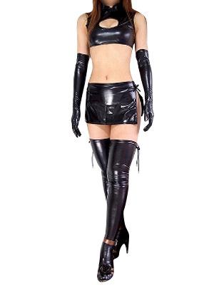 Milanoo Disfraz Halloween Catsuit de Catwoman de color negro de brillo metalico de estilo sexy Halloween Carnaval Halloween