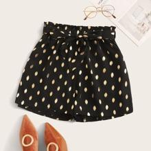 Metallische Shorts mit Punkten Muster und Guertel