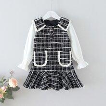Tweed Kleid mit Karo Muster und doppelten Taschen