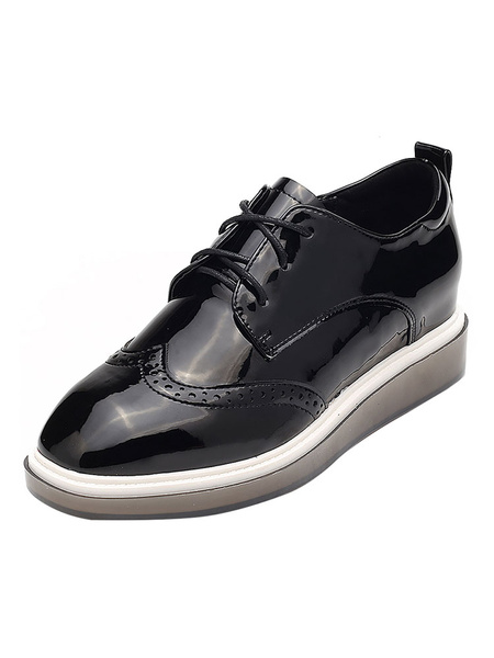 Milanoo Black Women Sneakers Round Toe Lace Up Oxford Shoes Casual Shoes
