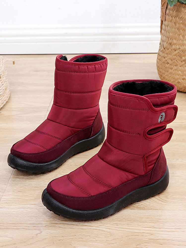Women Casual Waterproof Warm Hook & Loop Short-Calf Cotton Boots