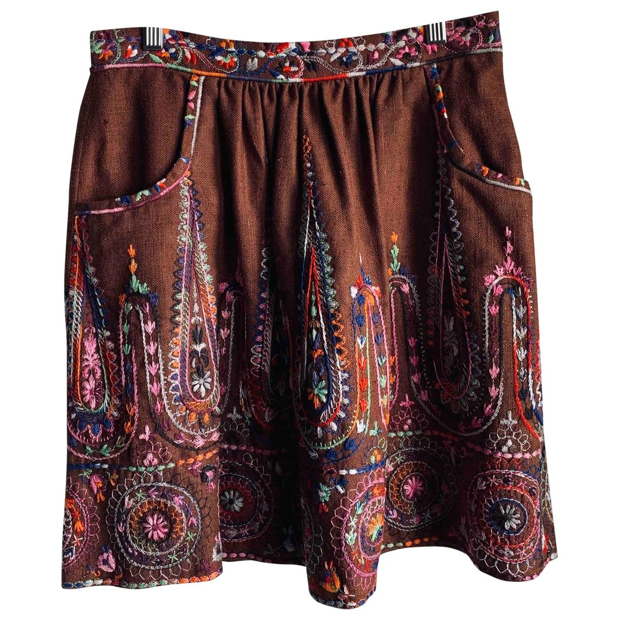 Anna Sui - Jupe   pour femme en soie - marron