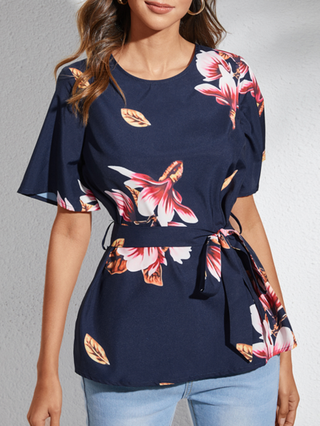YOINS Navy Random Floral Print Crew Neck Short Sleeves Blouse