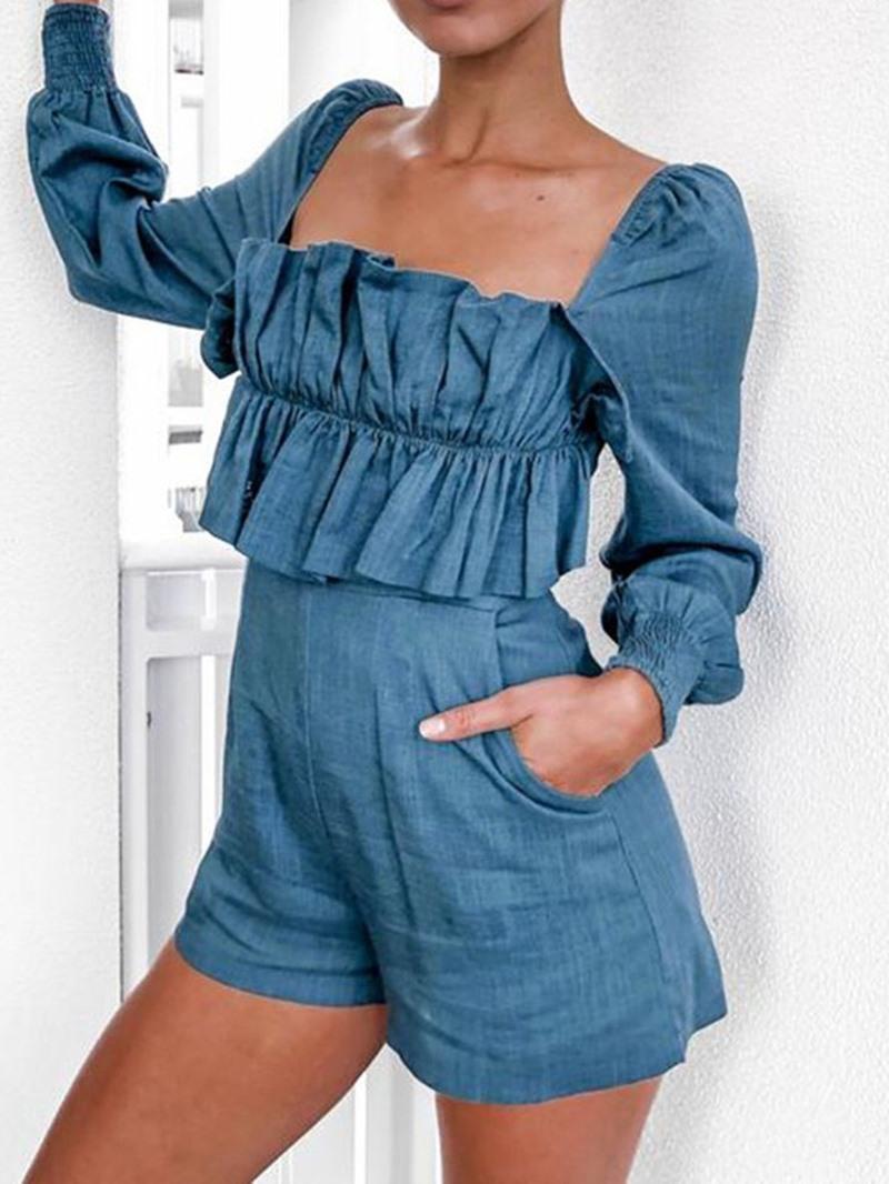 Ericdress Plain Fashion Zipper Slim Romper