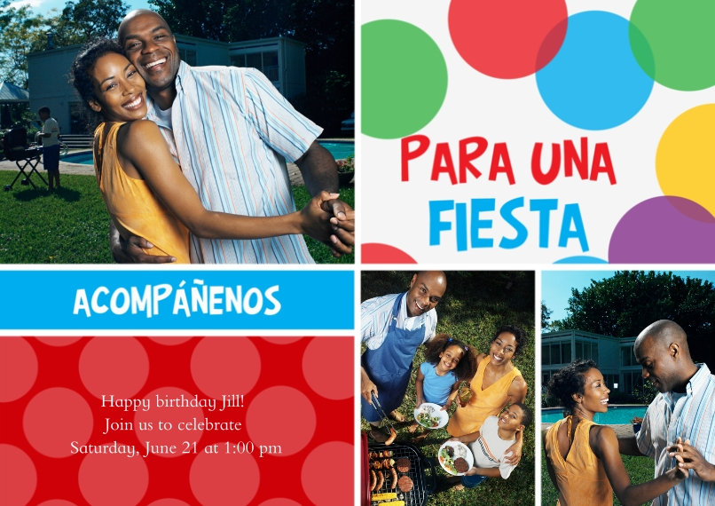 Birthday Party Invites 5x7 Cards, Premium Cardstock 120lb, Card & Stationery -Acompáñenos para una fiesta