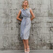 vestido de rayas en contraste de espalda con cordon con tiras cruzadas