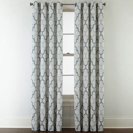 JCPenney Home Casey Jacquard Grommet-Top Curtain Panel, One Size , Blue