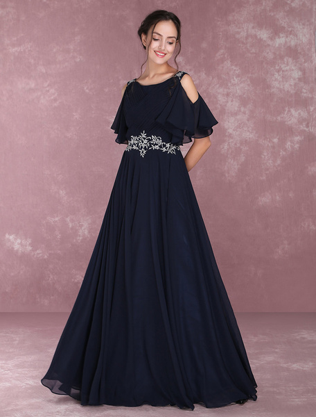 Milanoo Chiffon Evening Dresses Dark Navy Beading Mothers' Dresses Short Sleeve Cold Shoulder Pleated Floor Length Party Dresses wedding guest dress