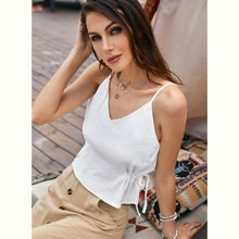 Textured Drawstring Side Cami Top