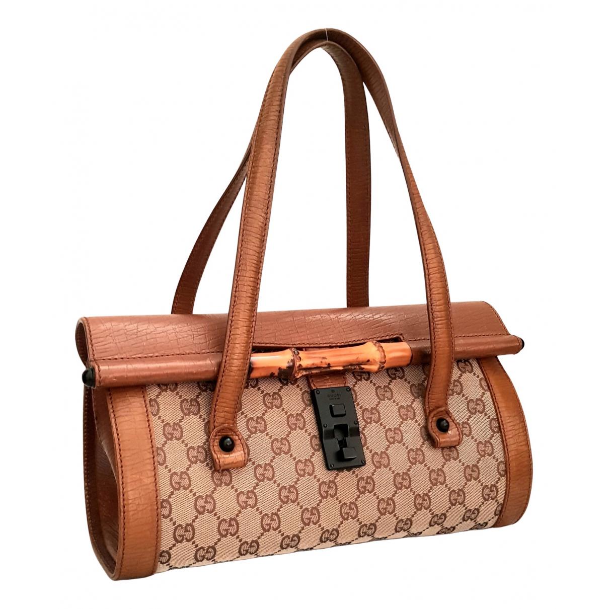 Gucci Bamboo Handtasche in  Braun Leinen