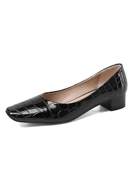Milanoo Women\'s Mid-Low Heels Block Heel Square Toe White Pumps