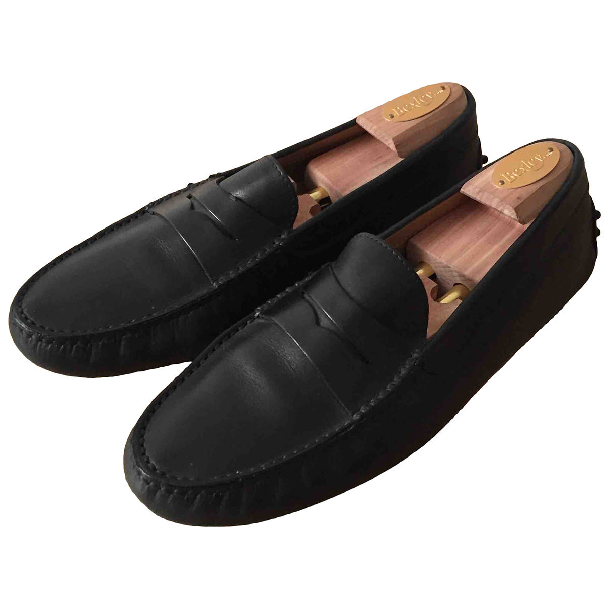 Tod's Gommino Black Leather Flats for Men 8.5 UK