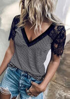 Lace Splicing Striped T-Shirt Tee without Necklace - Black