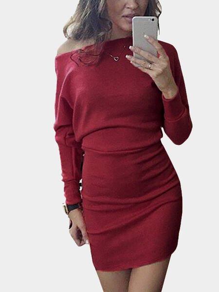 Yoins One Shoulder Bat Long Sleeves Mini Dress in Burgundy