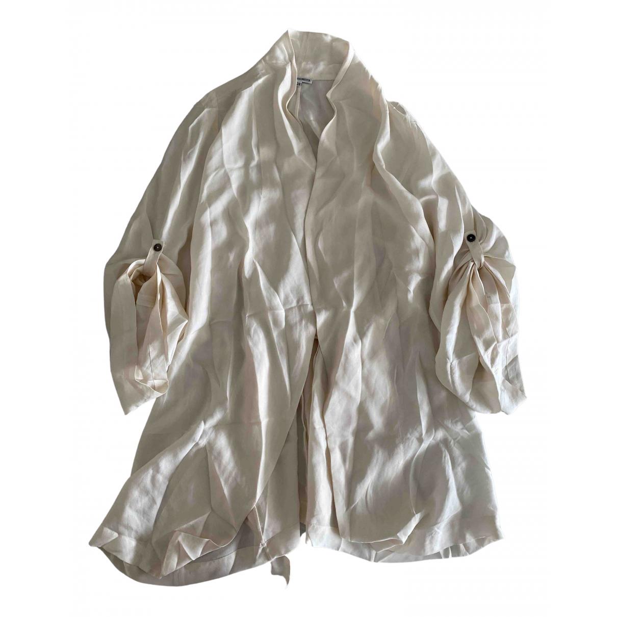 Ann Demeulemeester - Top   pour femme en soie - blanc