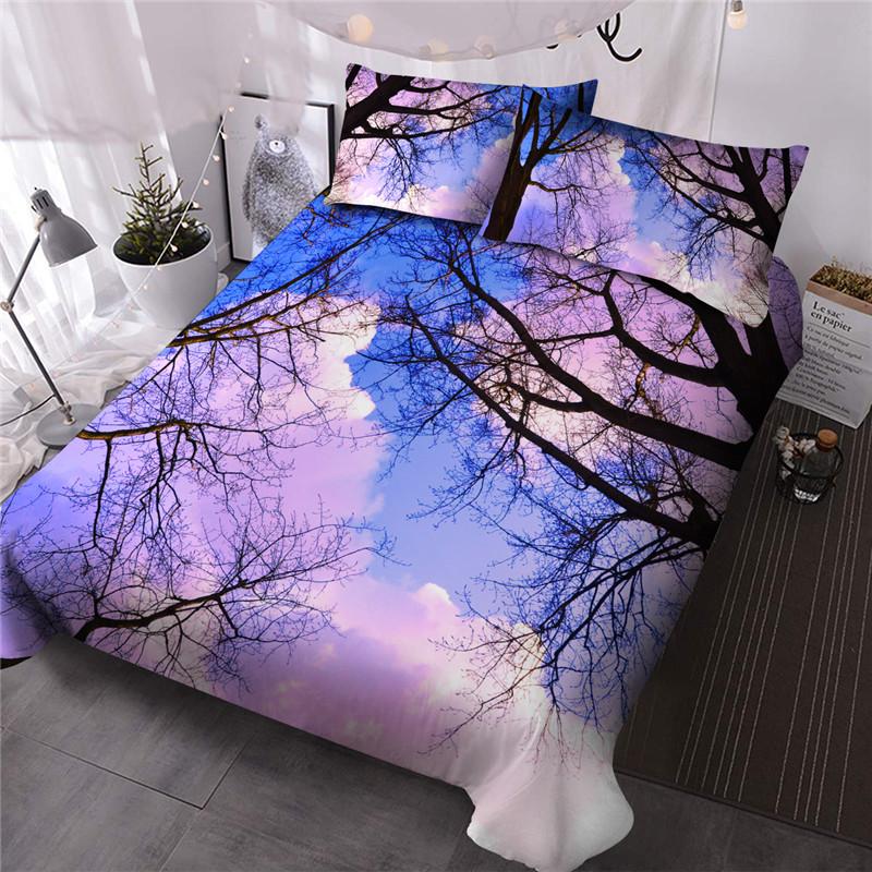 Carton Style Three-Piece Set Machine Wash Reactive Printing Comforter Set Polyester Bedding Sets